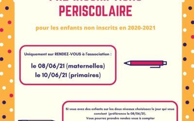 Pré-inscriptions périscolaire pour les enfants non inscrits en 2020-2021
